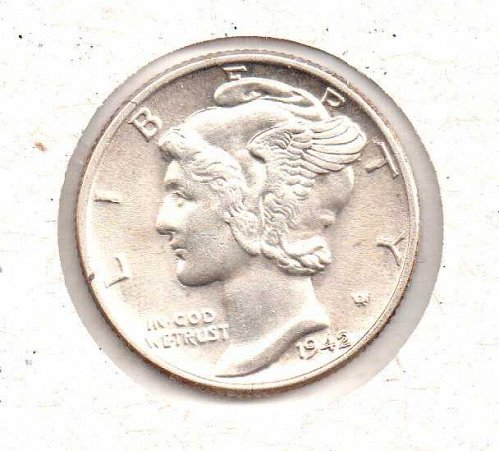 1942 p BU Mercury Dime - #3