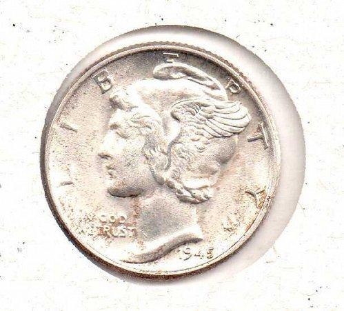 1945 p BU Mercury Dime - #3