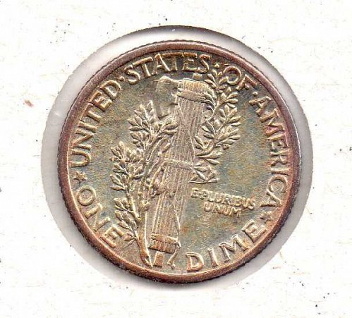 1936 p AU Mercury Dime