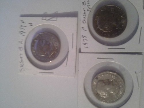 3 Nice Susan B. Anthony $1 Coins one with wide rim