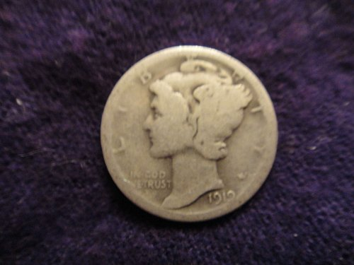 1919-D Mercury Dime About Good-3