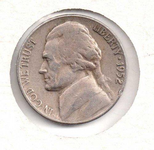 1952 p Jefferson Nickel #2
