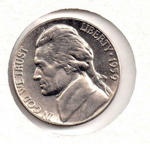 1959 p BU Jefferson Nickel #2