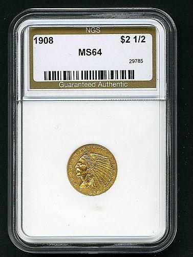 GEM 1908 $2.50 Indian Quarter Eagle Gold Coin