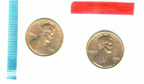 1980 P+D Lincoln Memorial Cents In Mint Cello Uncirculated!
