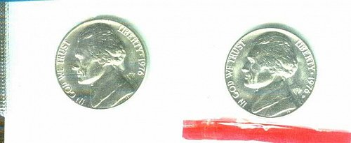 1976 P+D Jefferson Nickels In Mint Cello Uncirculated!