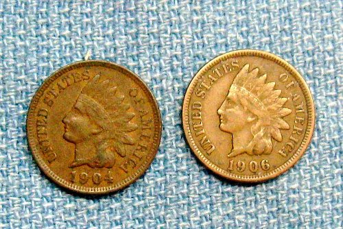Two Indian Head Pennies With Full Liberty - 1904 & 1906                 LOT C-2