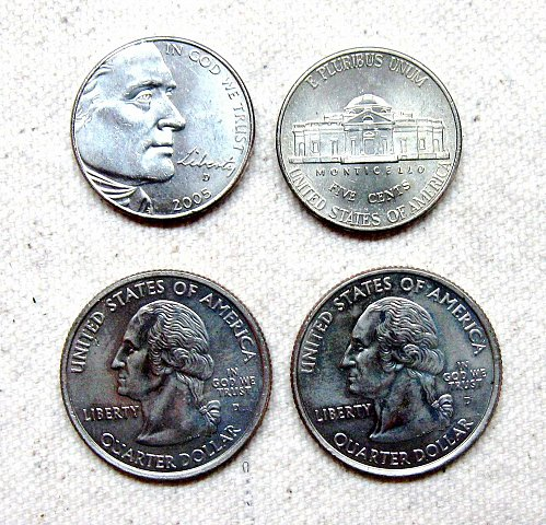 FOUR COLORIZED COINS - TWO QUARTERS, TWO NICKELS  -  LOT C-17