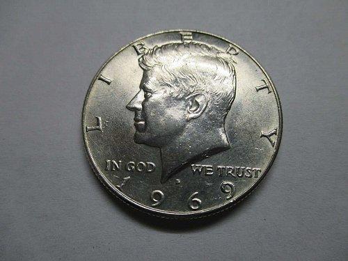 Silver .400 Kennedy Half Dollar,1969 D Uncirculated
