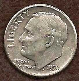 1950 D Roosevelt Dime - Silver