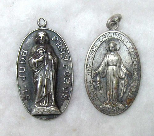 TWO SILVER RELIGIOUS PENDANTS WITH LOOPS - LOT A-32