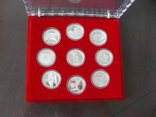 A set of silver coins
