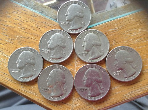 7 Lot of 1965-1969 washington quarters