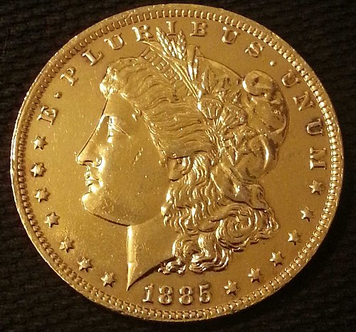 1885 O MORGAN SILVER DOLLAR US MINT COIN PLATED IN 24KT GOLD