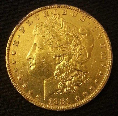 1881 O/S MORGAN SILVER DOLLAR 24KT GOLD CLAD O/S