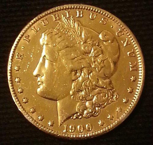 1900 O MORGAN SILVER DOLLAR 24 KT GOLD PLATED US MINT COIN