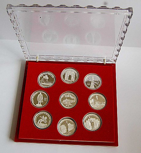 A set of silver coins -(9pcs)
