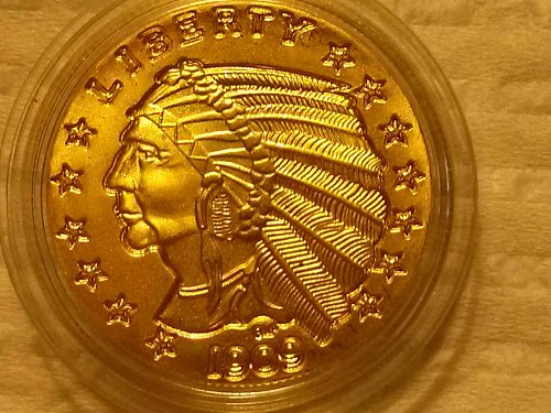 Collectors Limited Edition 24k clad1909 5.00 Indian Head (Doubled)