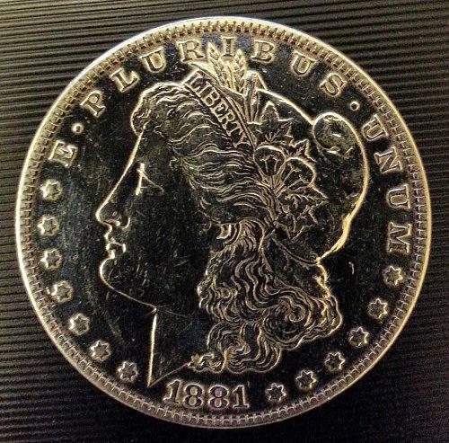 1881 S MORGAN SILVER DOLLAR (.92) AU DETAILS