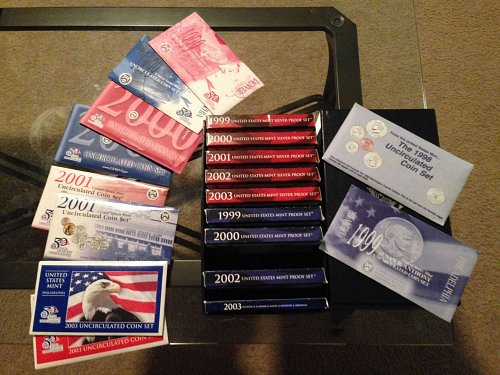 Lot  silver proof, proof, and uncirculated sets. 1998 through 2003