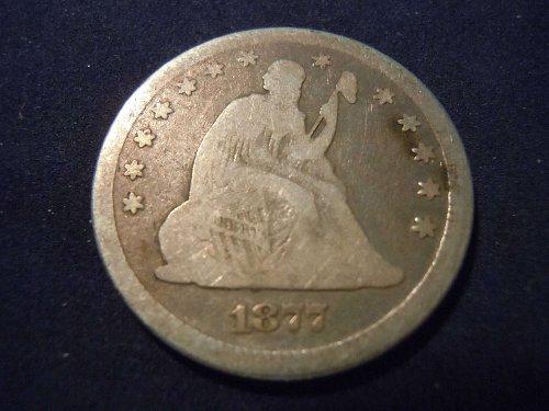 1877 SEATED LIBERTY QUARTER DOLLAR.    (A112)