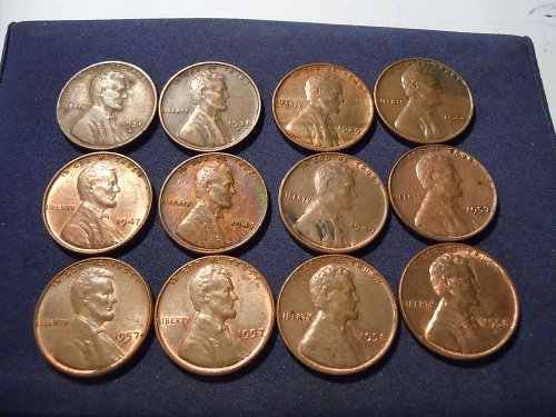12 VERY NICE LINCOLN WHEAT CENTS 30'S 40'S50'S (A180)