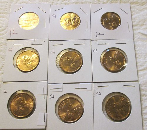 2000 Sacagawea Golden Dollars P (3) & D (6)