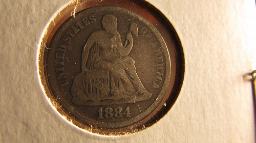 Lot of 5 Seated Liberty Dimes: 1851, 1853, 1875, 1884, 1888