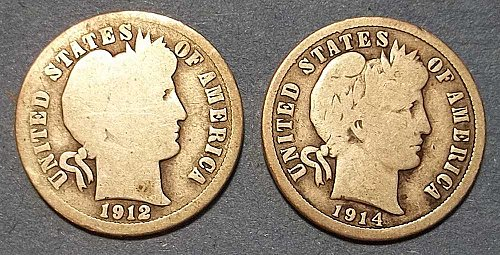 2 Barber Dimes (1912d and 1914)
