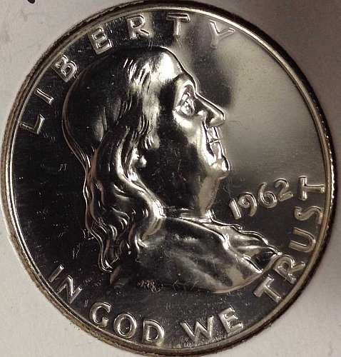 "BEAUTIFUL 1962 ""MIRROR-LIKE"" FRANKLIN 90% SILVER HALF DOLLAR PROOF"