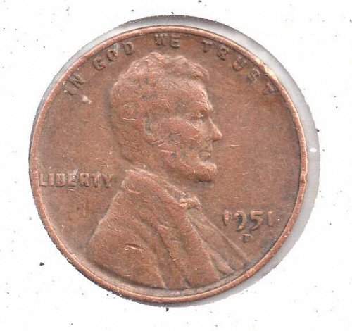 1951p Lincoln Wheat Penny #3