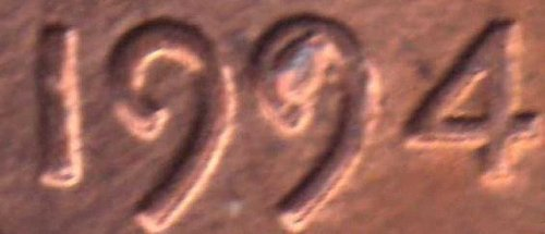 1994 Lincoln Cent - Die Chip Error