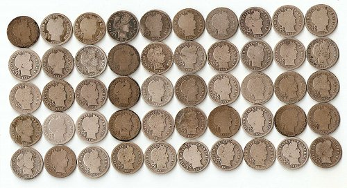 50 Barber Dimes Folder Set All Different Dates 1892-1916