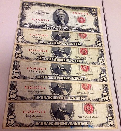 "FV$27.00 Lot ""Red Seals"" $5&$2 US Notes Mixed 1953-1963-GREAT LOT!"