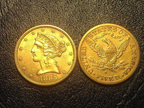 CORONET HEAD GOLD  $5 HALF EAGLE WITH MOTTO
