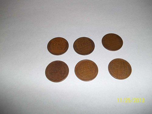 collection of 1920s one cent Lincoln wheat