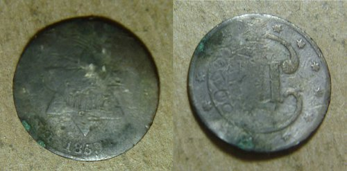 1853 Silver Three Cent coins (1853-02, -03, ??); 3 silver three cent coins