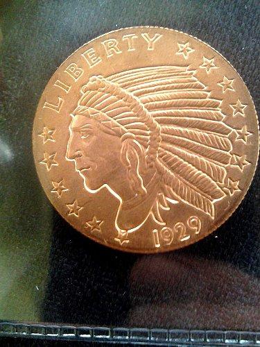 1/4 oz copper indian head 1929 design **