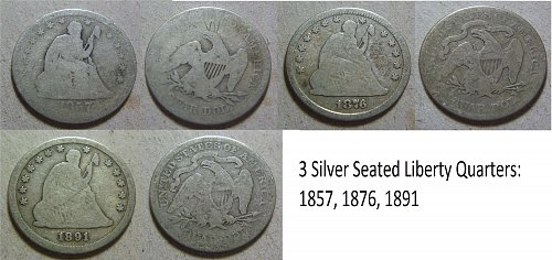 Liberty Seated Silver Quarters (3) 1857, 1876, 1891