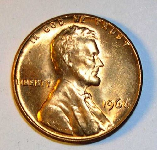 1966 P Lincoln Memorial Cent Small Cent - BU RD