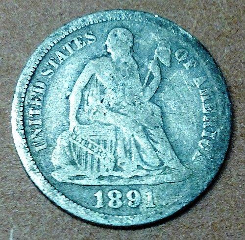 1891O Seated Liberty Dime
