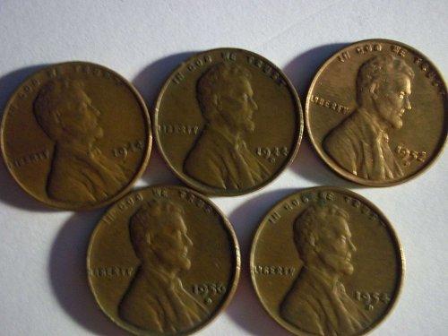 Five (5) Wheat Pennies - 1944 D; 1944; 1952 D; 1954 D; 1956 D