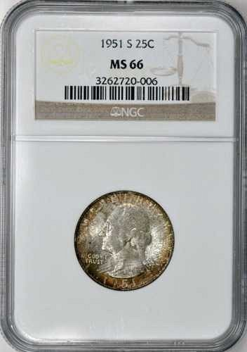 1951-S Washington 25c NGC MS-66 Toned