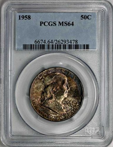1958 Franklin 50c PCGS MS-64 Toned