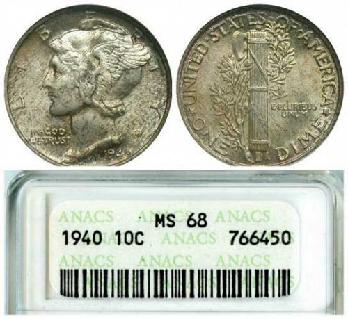 1940 Mercury 10c ANACS MS-68