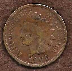 US Indian Head Cent Penny 1905