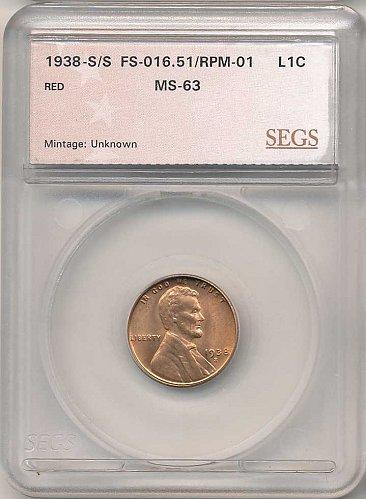 1938-S/S RPM-001/FS-501 SEGS MS-63 RED