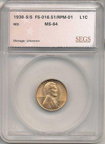 1938-S/S RPM-001/FS-501 SEGS MS-64 RED