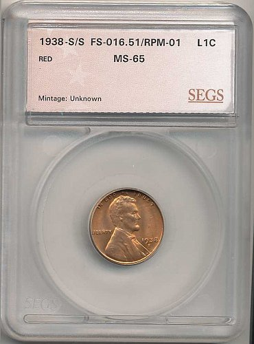 1938-S/S RPM-001/FS-501 SEGS MS-65 RED
