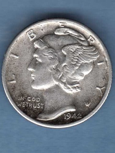 AU FB 1942 S Silver Mercury Head Dime US Coin Clear F.B.